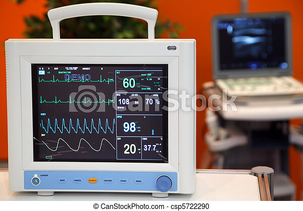 Cardiac Monitor with Vital Signs: EKG, Pulse Oximetry, Blood Pressure - csp5722290