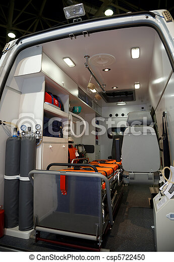 Equipment for ambulances. View from inside. Photo taken from the rear doors. - csp5722450
