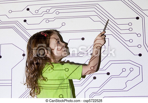pretty little girl shows pointer on electric scheme throw projector on wall - csp5722528