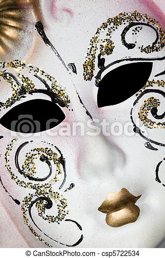 White Venetian mask with patterns, Lying on diagonal - csp5722534