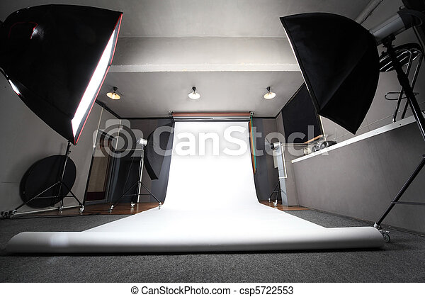 interior of professional photo studio with white background general view - csp5722553