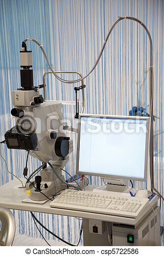 Medical Equipment. Microscope with camera connected to your computer. - csp5722586