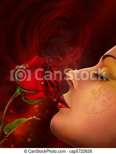 rose and woman face collage - csp5722626