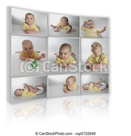 collage, muchos, fotos, plano de fondo, niño, televisión, blanco - csp5722649