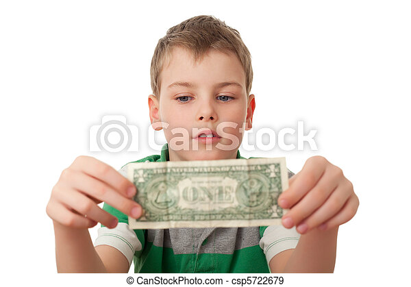 boy holds one dollar in both hands  isolated on white background, looking at dollar - csp5722679