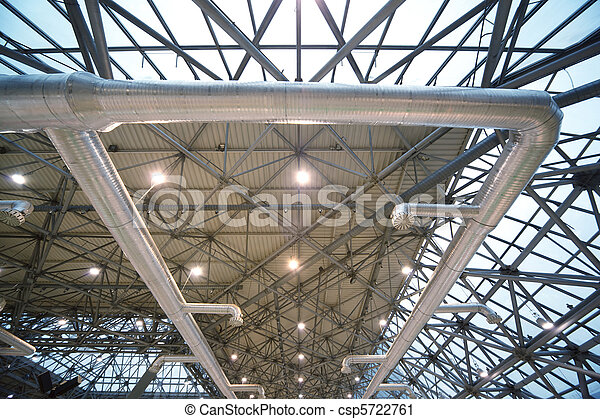 Roof of building from inside: extinguishing system and lighting. Frame of steel structures. - csp5722761
