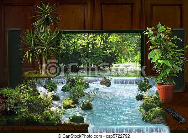 tv interior and waterfall collage - csp5722792