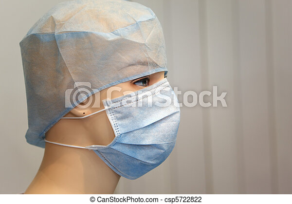 Sterile dressing and cap on mannequin. Close-up photos. - csp5722822