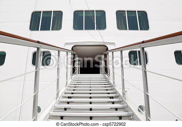 entrance with rails and stairs in big cruise passenger liner - csp5722902