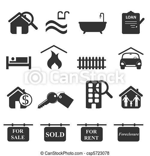 Vector of Real estate icons in gray csp5723078 - Search Clip Art ...