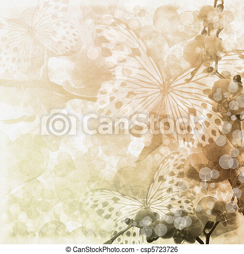 Butterflies and orchids flowers beige background ( 1 of set) - csp5723726