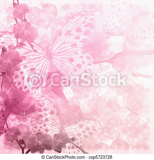 Butterflies and orchids flowers  pink background ( 1 of set) - csp5723728