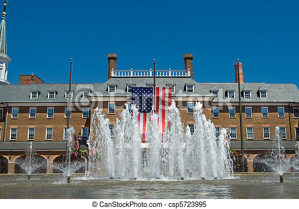 City Hall in Old Town, Alexandria, Virginia in colonial revival style. - csp5723995