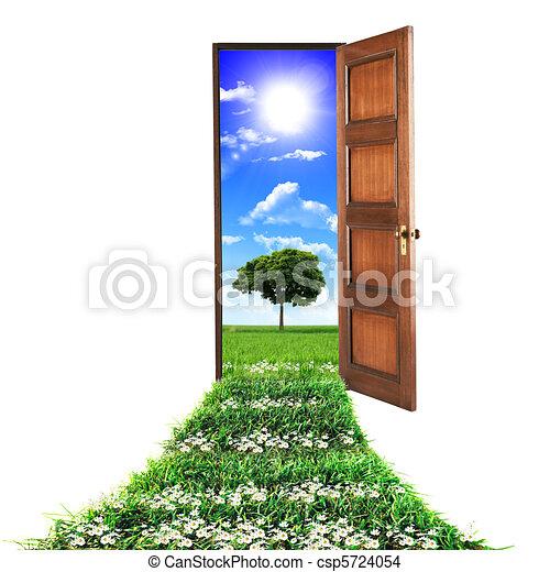 Door Opening Drawing Open Door Leading to Beautiful