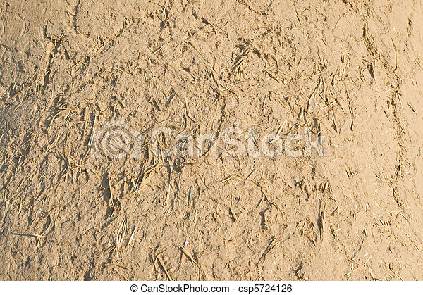 Full Frame Adobe Mud Wall, Rough Straw Texture - csp5724126