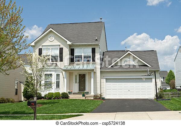 Front View Vinyl Siding Single Family Small House Suburban Maryl - csp5724138
