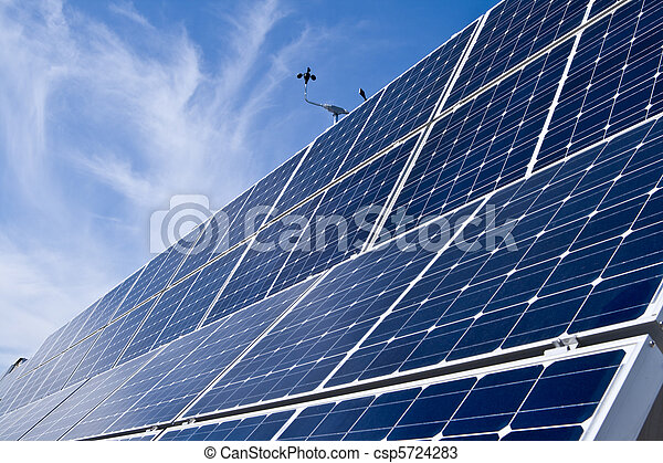 Rows Photovoltaic Solar Panels Distance Blue Sky - csp5724283