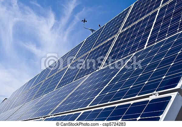 Rows Photovoltaic Solar Panels Distance Blue Sky - csp5724283