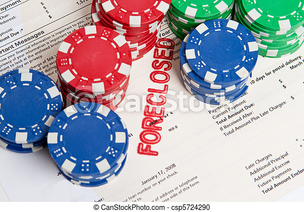 Bet the House Poker Chips on Foreclosed Mortgage - csp5724290