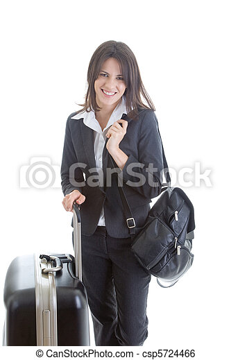 Smiling Caucasian Woman with Suitcase Backpack Traveler Isolated - csp5724466