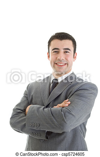Smiling Caucasian Hispanic Man Arms Crossed Isolated White - csp5724605