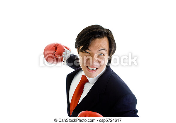 Angry Asian Man Suit Boxing Glove Punching Isolated White - csp5724617