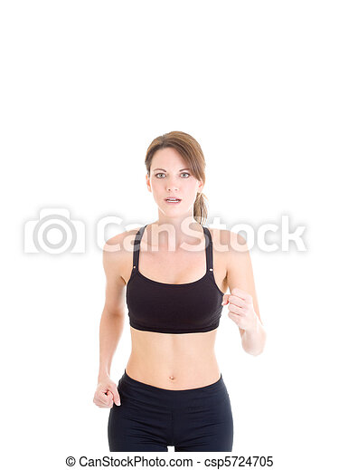Slender White Woman Jogging on Isolated Background - csp5724705
