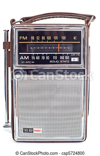 Vintage Portable Transistor Radio Isolated on White Backgro - csp5724800