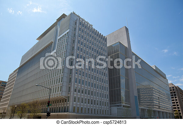 North Side Headquarters for the World Bank in Washington, DC, USA.  Very modern building, it is the site of frequent anti-globalization protests. - csp5724813