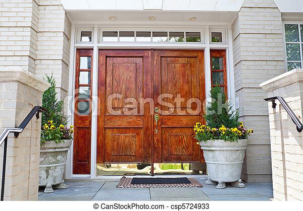 bois, double, porte, Grandiose, entrée, maison - csp5724933