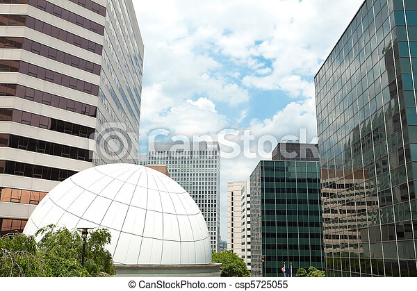 Downtown Rosslyn, Virginia Office Buildings Blue Sky Dome - csp5725055