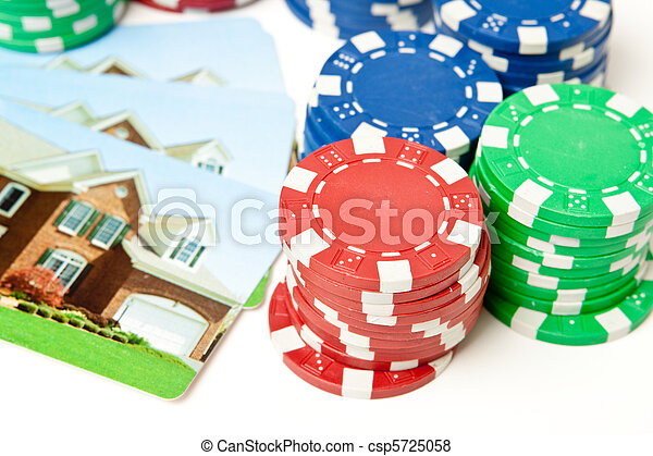 Bet the House Poker Chips on Foreclosed Mortgage - csp5725058