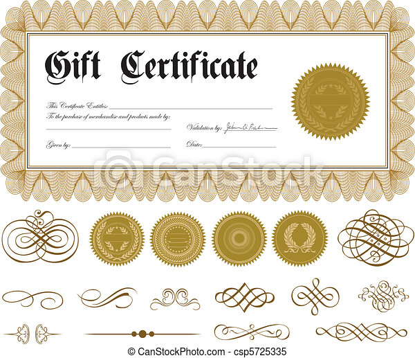 Vector Certificate Border and Gold Ornaments - csp5725335