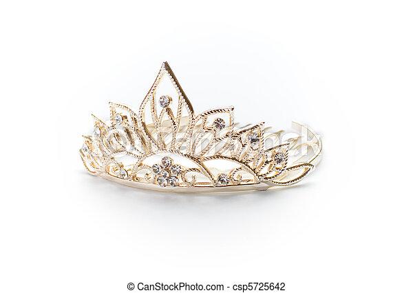 Isolated golden tiara, crown or diadem on white - csp5725642