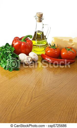 Empty table with ingredients  and place for your dish or pizza - csp5725686