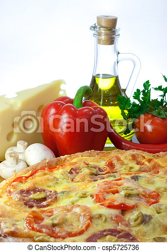 Homemade pizza and ingredients - csp5725736