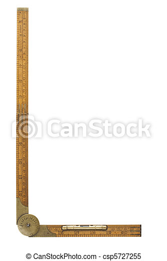 Antique carpenter's boxwood folding rule marked Rabone with brass level and protractor, isolated and containing clipping path - csp5727255