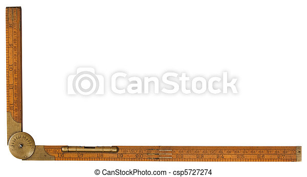 Antique carpenter's boxwood folding rule of 19th century marked Rabone with brass level and protractor isolated on white with  included - csp5727274