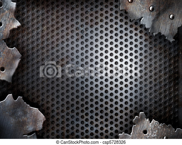 grunge crack metal background with rivets - csp5728326