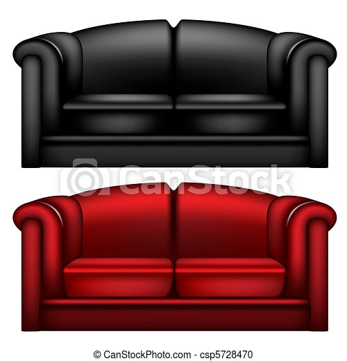 Dark black and red leather sofa - csp5728470