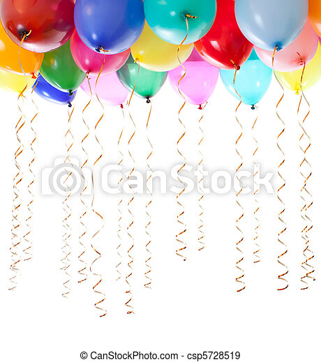 colourful balloons filled with helium and with golden streamers isolated on white - csp5728519