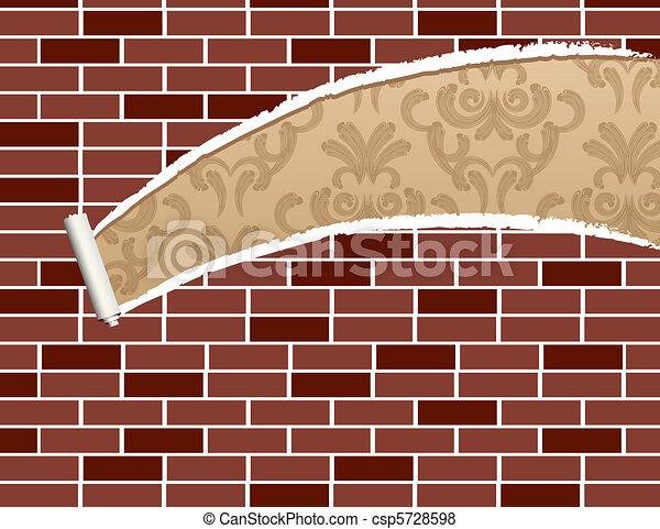 Ripped brick wall - csp5728598