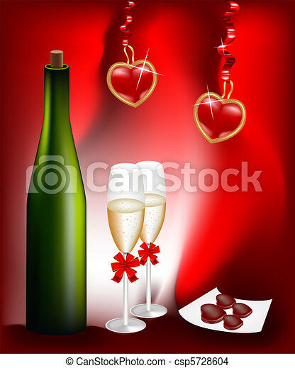 Bottle of wine and two glasses - csp5728604