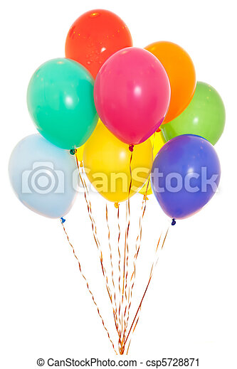 colourful balloons bunch filled with helium isolated on white - csp5728871