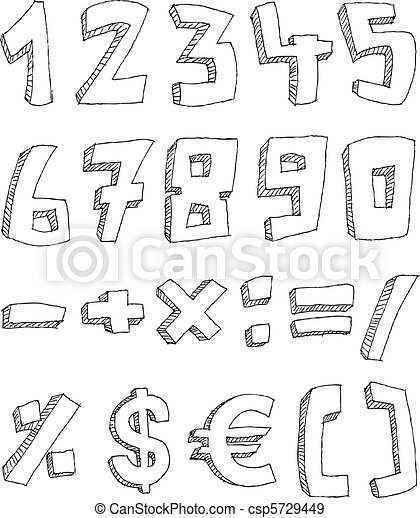 Hand drawn numbers and math signs - csp5729449