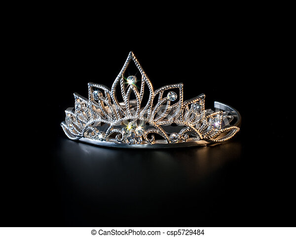Tiara or diadem with colorful sparkles on black background - csp5729484