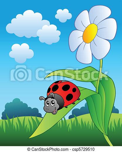 Cute ladybug with flower - csp5729510