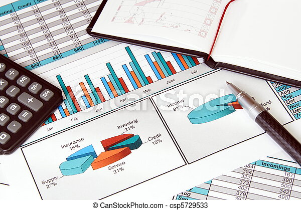 Business Still Life with Finance Stats - csp5729533