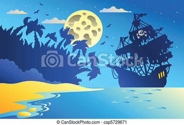 Night seascape with pirate ship 2 - csp5729671