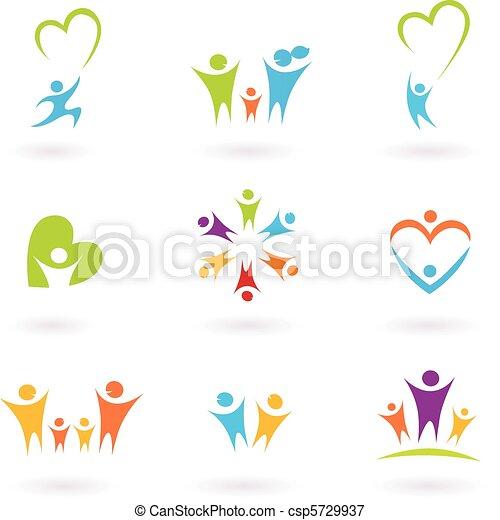 Children, family and community icon - csp5729937